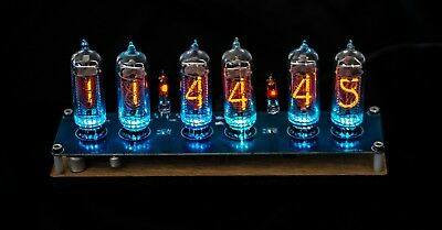 Nixie Clock IN-14 Tubes assembled mahagony wood (WITH TUBES + ADAPTER)