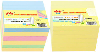 4a Sticky Note 3x3 Lined Pastel Assortedcanary Yellow 12 Pads Total 1200 Sheets