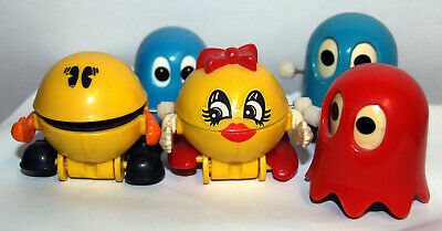 Pac Man, Ms Pac Man & Blinky, Ghost Vintage Tomy Plastic Wind Up Toy (1982)