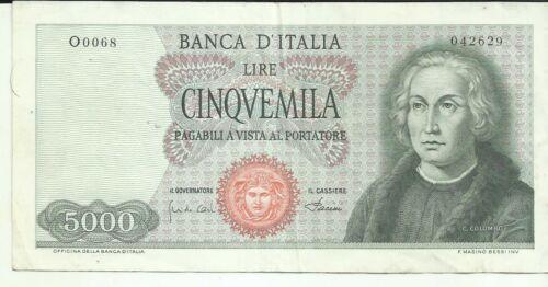 ITALY ITALIA 5000 LIRE COLUMBUS P 98. VF CONDITION. 8RW 28SET