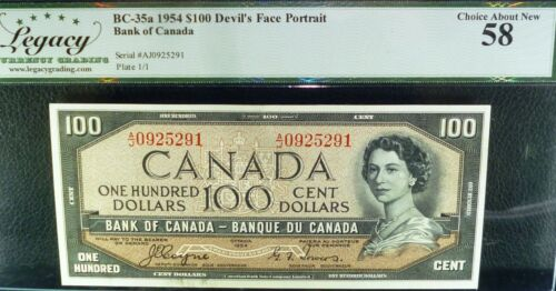 1954 world famous DEVILS FACE BANKNOTE,1954 $100 BANK OF CANADA