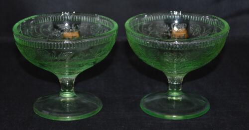 2 Vintage U.S Glass Green Strawberry Pattern Sherbets - Very Nice