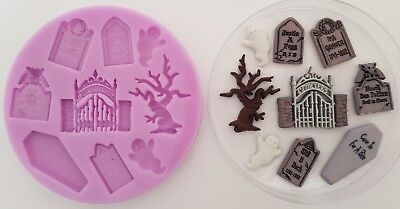 GRAVEYARD CEMETERY HALLOWEEN SILICONE MOULD FOR CAKE TOPPERS CHOCOLATE CLAY ETC](Graveyard Cake Halloween)