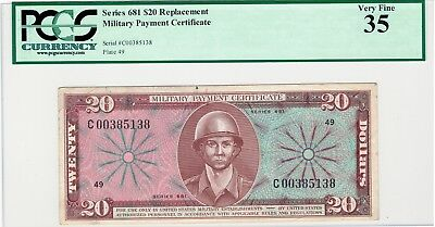 MPC Series 681 $20 * Replacement Note * Military Payment Certificate PCGS 35 VF