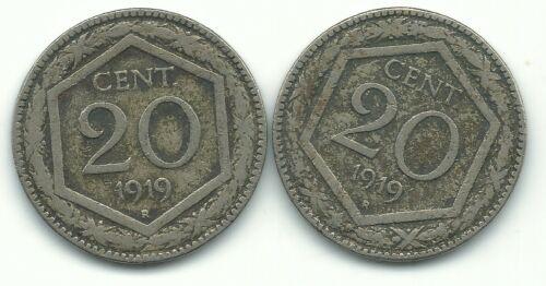 VERY NICE LOT OF 2 1919 R ITALY 20 CENTESIMI COINS-AGT245