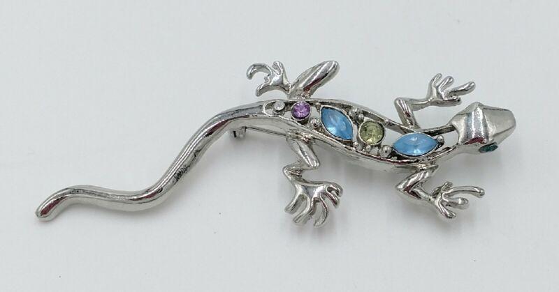 Vintage Rhinestone Lizard Brooch Gekko Navettes Blue Citrine Lilac Animal 3D Pin