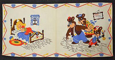 Vtg Dresser Scarf Runner Children's Nursery Rhyme Goldilocks & The 3 Bears New
