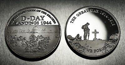 Superb Pair of WW1 Armistice & WW2 Churchill D-Day Commemoratives, .999 Silver