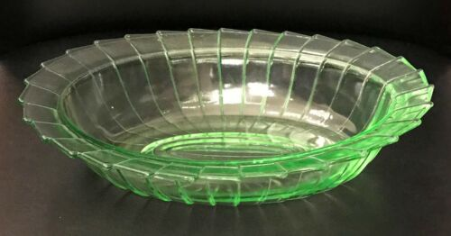 Sierra Pinwheel Green Depression Glass Oval Vegetable Bowl