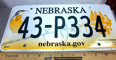 Nebraska Metal License Plate, Bird and flowers, 2011 issue, 43 P334, w hologram
