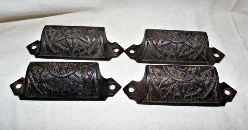 4 Antique Eastlake Cast Iron Drawer or Bin Pulls Ornate - Free Shipping