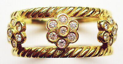 Authentic Hidalgo 18K Y 3 Flower Large Insert Ring w Dias RS6658YG Size (Hidalgo Flower)