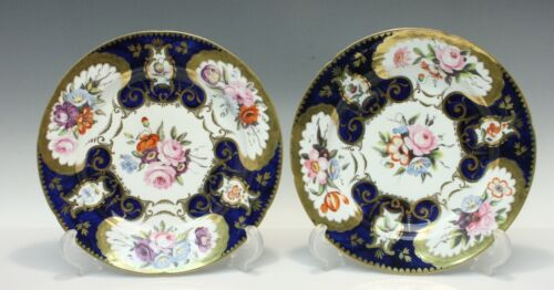 Pair Early & Lavish Derby Related Plates Hand Done Florals & Gilt c 1830
