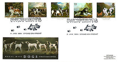 8 JANUARY 1991 DOGS ROYAL MAIL FIRST DAY COVER PAWPRINTS STOKE ON TRENT SHS