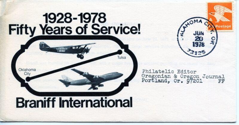 Vintage 1978 Braniff International 50 Years Service 1928-1978 Cover & Insert VG+