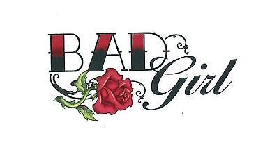 BAD GIRL with red rose Temporary Tattoo