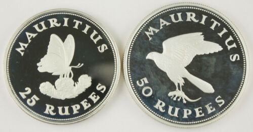 Mauritius 1975 25 & 50 Rupee Proof Silver 2 Coin Set BUTTERFLY & KESTREL