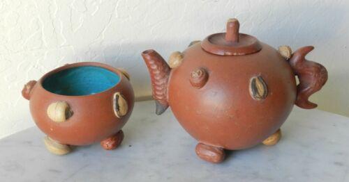 "c.1920 Chinese Yixing Zisha ""Hundred Fruit"" Antique Teapot + Cup"