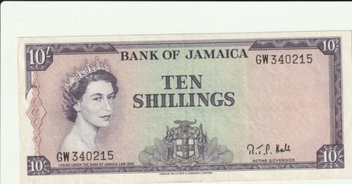 Jamaica 10 shillings 1961 AU+ Hall Signature Crisp Note