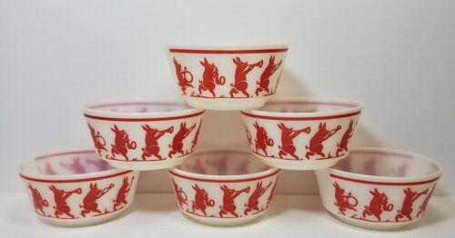 "6 Vtg Hazel Atlas Pig Marching Band Cereal Bowls Three Little Pigs 5"""