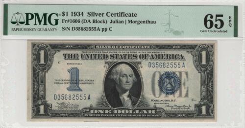 1934 $1 SILVER CERTIFICATE FR.1606 DA BLOCK PMG CERTIFIED GEM UNC 65 EPQ (555A)