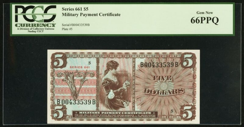 Series 661 $5 Military Payment Certificate PCGS 66 PPQ Gem New Uncirculated