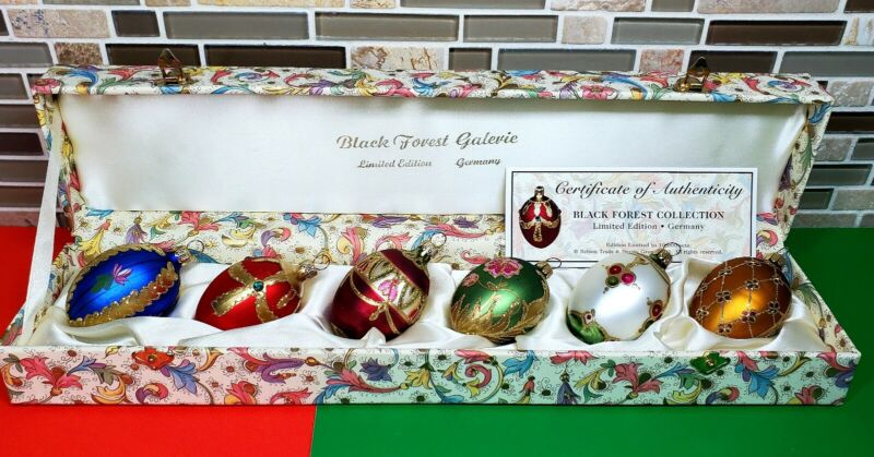 Black Forest 2001 Collection Series Handmade 6 Christmas Egg  Ornaments Limited