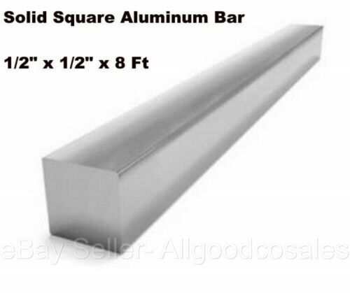 "Square Stock 6063 Aluminum Alloy 1/2"" x 1/2"" x 96"" Solid Square 8 ft. Long Bar"