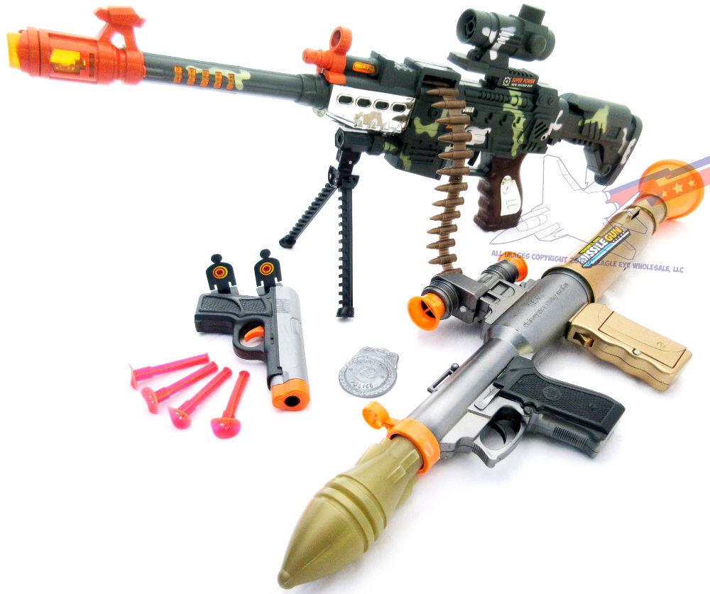 3x Toy Guns Electronic Toy Bazooka M4 Machine Gun 9MM Dart