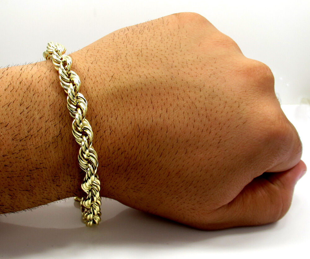 5mm Men S 10k Yellow Gold Rope Chain Wide Bracelet 9