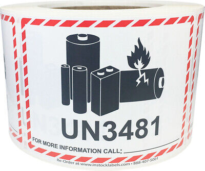 Lithium Battery Un3481 Shipping Labels 3.25 X 4.25 Inches 500 Labels On A Roll
