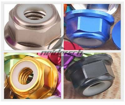 (Aluminum Flanged Lock Nut X 10 silver Blue Red Gold Pink Grey black M4 4mm)
