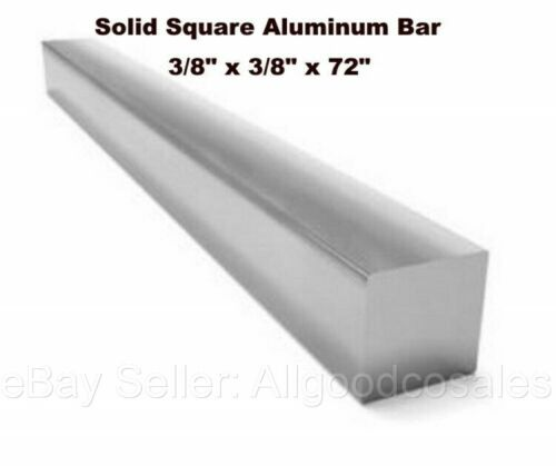 """Square Stock 6061 Aluminum Alloy 3/8"""" x 3/8"""" x 72"""" Solid Square 6 ft. Long Bar"""