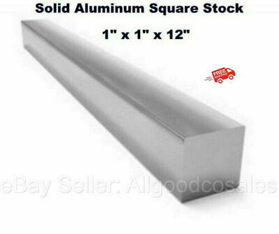 Square Stock 6061 Aluminum Alloy 1 X 1 X 12 Solid Square 1 Ft. Long Bar