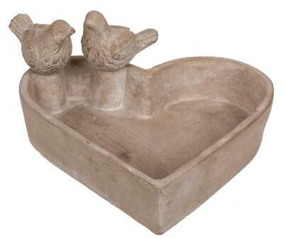 Heart Shape Cement Concrete Garden Wild Bird Bath Birdbath with 2 Birds