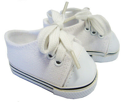 "For 18"" American Girl Doll Clothes White Canvas Sneakers Gym Shoes Accessories"