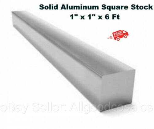 "Square Stock 6061 Aluminum Alloy 1"" x 1"" x 72"" Solid Square 6 ft. Long Bar"
