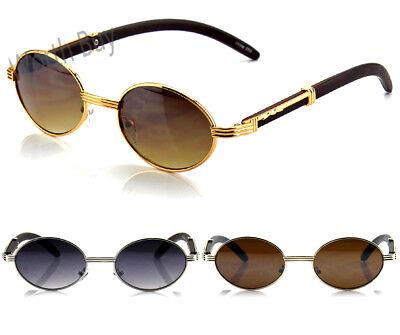 New Mens Womens Fashion Oval Sunglasses Vintage Retro Buffs Designer Wood Shades ()