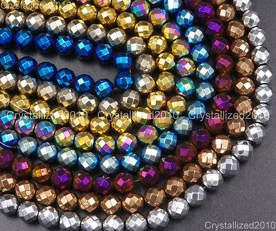 Natural Hematite Gemstone Faceted Round Beads Metallic Colors 4mm 6mm 8mm 15.5