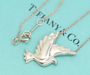 TIFFANY&Co Dove Bird Pendant Necklace Picasso Silver 925 #2237