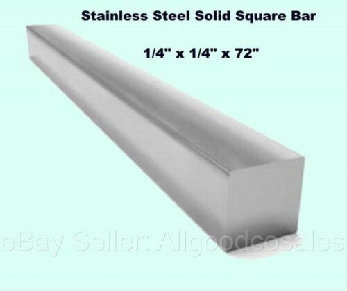 """Square Stock 304 Stainless Steel 1/4"""" x 1/4"""" x 72"""" Solid Square 6ft. Long Bar"""