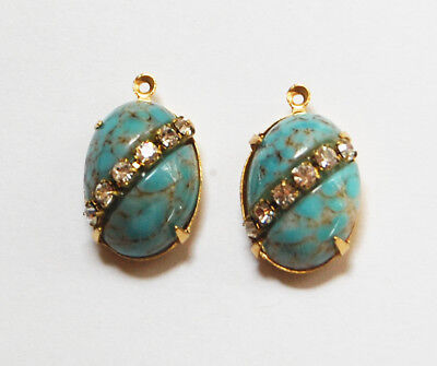(VINTAGE ANTIQUE GLASS OVAL PENDANT BEADS RHINESTONE TURQUOISE MATRIX • 18x13mm )
