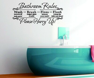Us Stock Bathroom Rules Quotes Removable Wall Sticker Pvc Art Decals Home Decor