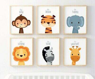 6er Set Poster Dschungel Tiere Deko Bild A4 Afrika Safari Poster Kinderzimmer