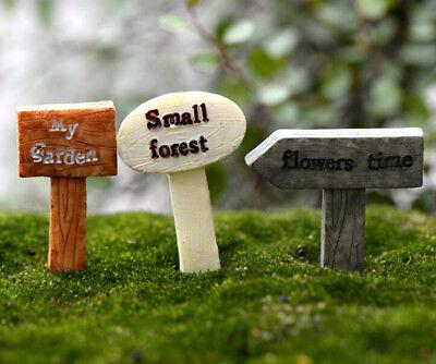 3 Stücke Mini Garten Schild Moos Terrarium Micro Landschaft DekorationR fu