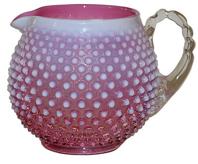 - Fenton Hobnail Cranberry Opal #3965 Squat Jug / Pitcher