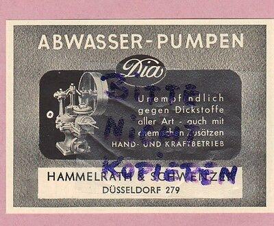 DÜSSELDORF, Werbung 1952, Hammelrath & Schwenzer Dia Abwasser-Pumpen