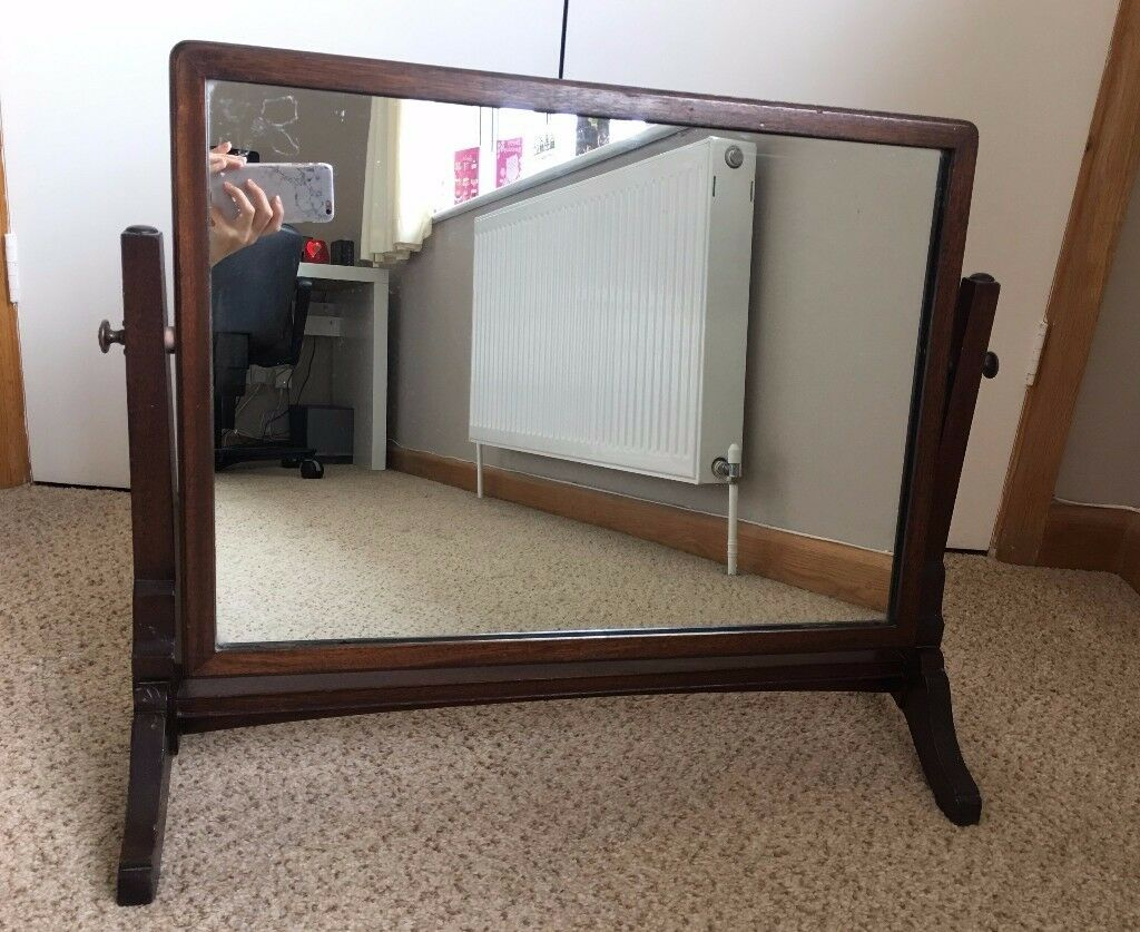 Old Vintage Mahogany Swivel Dressing Table Vanity Mirror