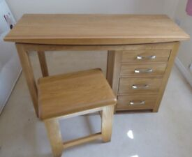 "OAK FURNITURELAND SOLID OAK ""BEVEL DESIGN""DRESSING TABLE & STOOL- MINT CONDITION"
