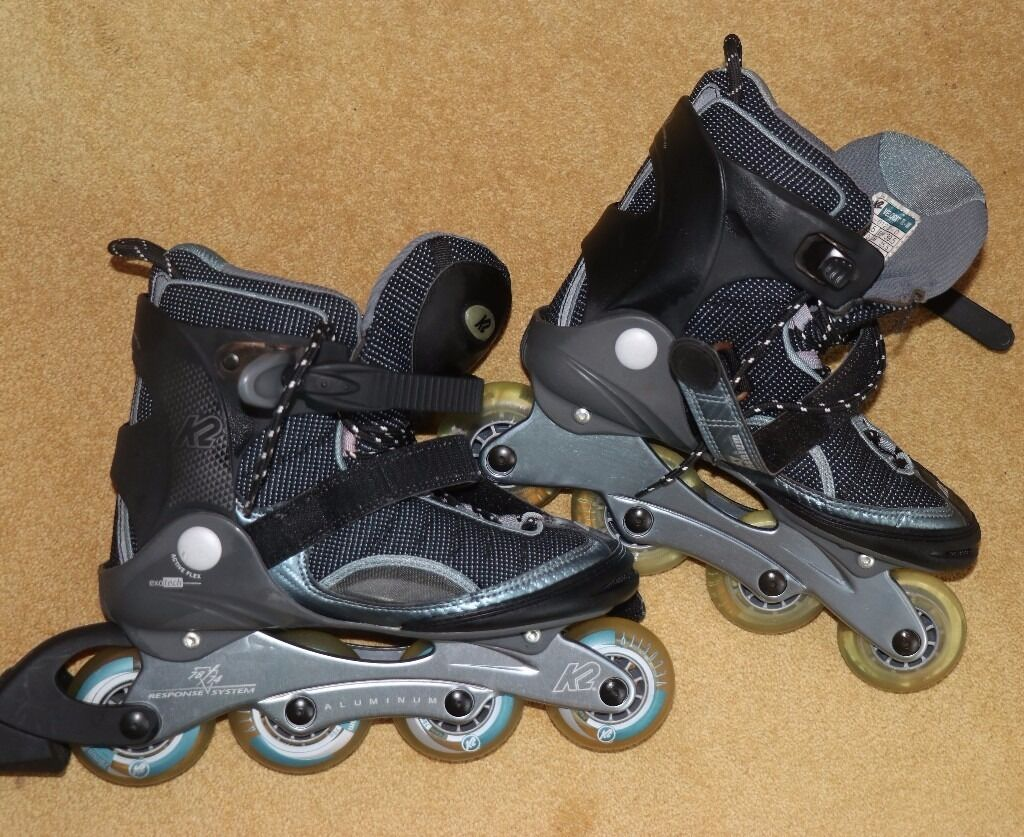K2 Velocity Exotech ladies roller blades and protective pads. Size 6. AS New